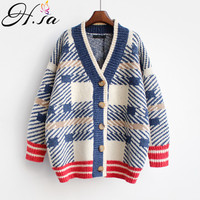 H.SA 2018 Women Sweater and Cardigans Vneck Long Knitted Coat Korean Style Loose Oversized Cardigans Poncho Plaid Outerwear Coat