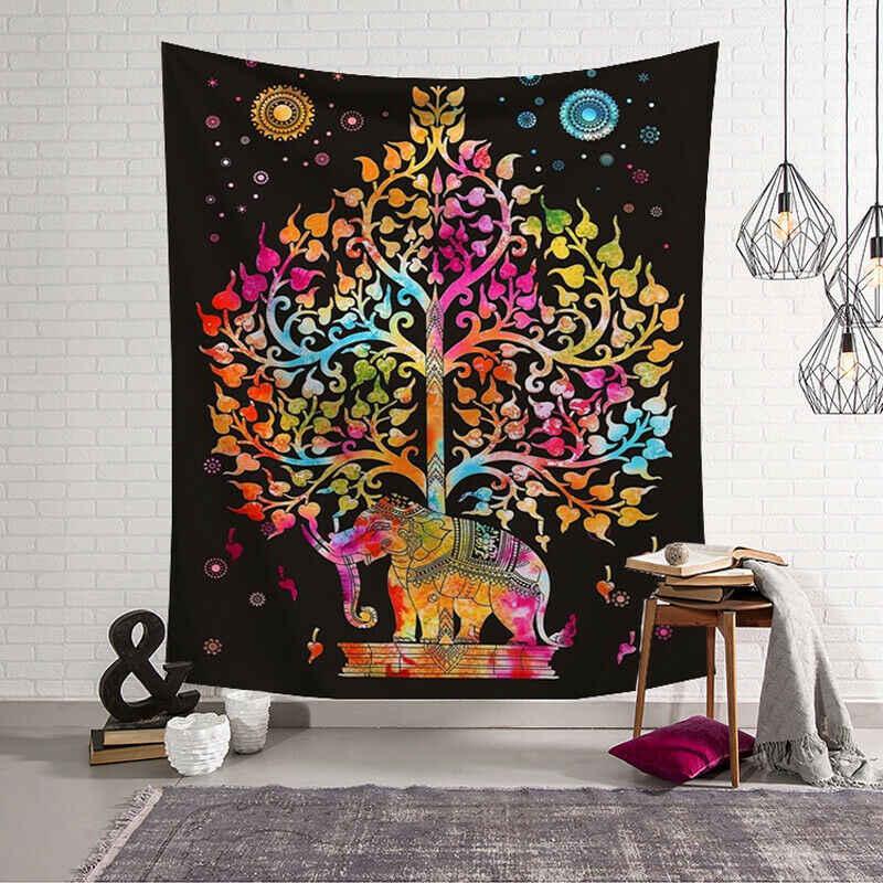 Tapiz de pared de poliéster indio Mandala patrón manta decoración del hogar Yoga alfombra multifunción pequeña 95x73cm