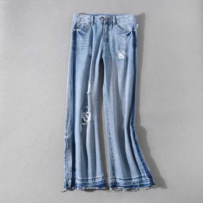 TWOTWINSTYLE рваные джинсы для женщин с высокой талией винтажные Большие размеры Брюки-макси женские 2018 весна лето модная повседневная одежда