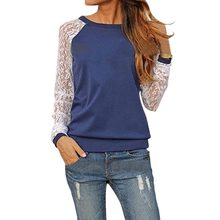 Autumn 2018 Women Tops And Blouses Sexy Lace Patchwork Long Sleeve Ladies Shirts Casual Solid O-Neck Pullover Tunic Blusas S-XXL(China)