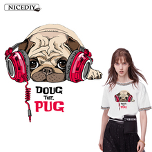 Nicediy Cute Music Pug Dog Iron on Heat Transfer Printing Patches Stickers for Clothes DIY Appliques Washable Animal