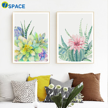 Watercolor Cactus Plants Flower Leaves Nordic Posters And Prints Wall Art Canvas Painting Pictures For Living Room Decor