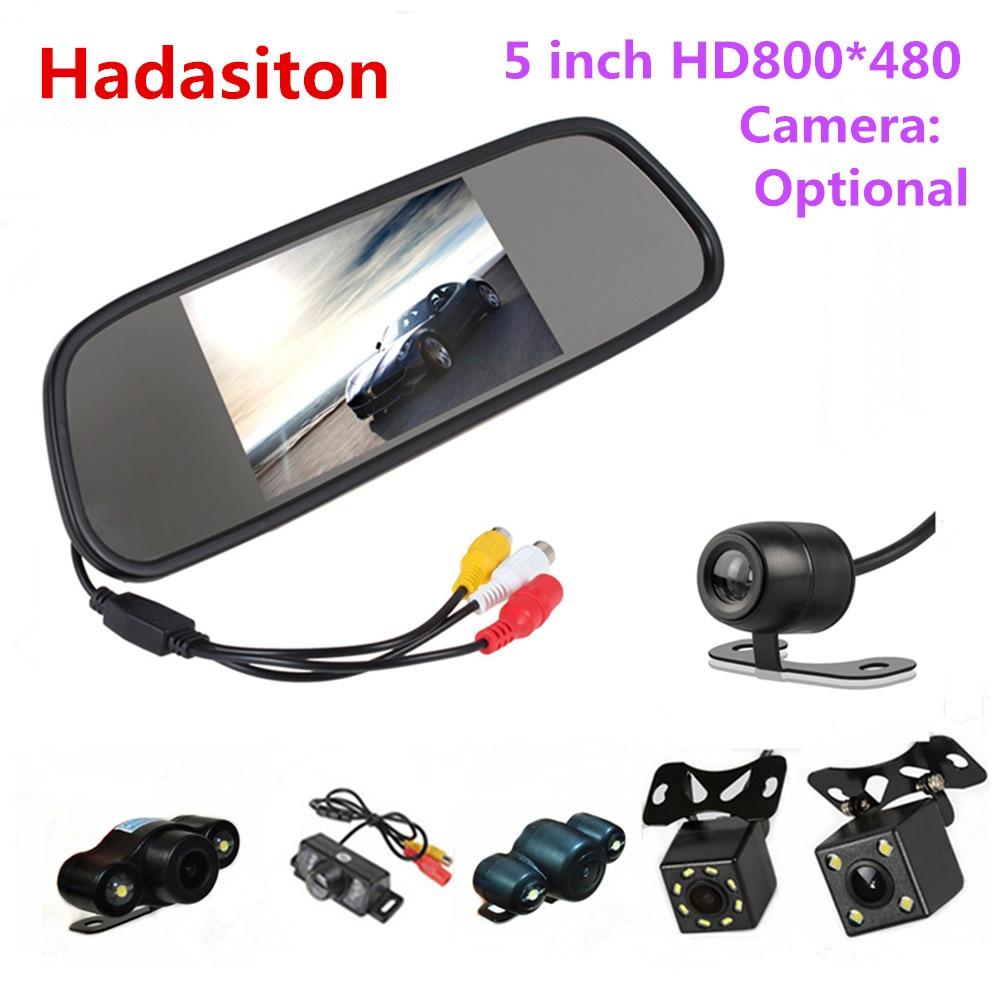 Реверсивный Парковка монитор 5 дюймов TFT ЖК-дисплей Цвет Экран монитор автомобиля зеркало заднего вида монитор, камера заднего вида по желанию
