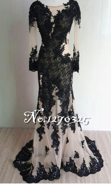 Vestido2017 new lace long sleeves sexy mermaid black turkish evening gowns long real picture muslim evening dress