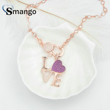 3Pieces, Women Fashion Letter LOVE CZ Prong Setting long Necklace.Pink plating color