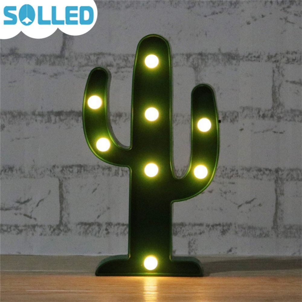 SOLLED 3D Cute Cactus Light Lamp LED Decorative Baby Night Light Dim Mood Lamp Battery Operated Childs Room Deration ...