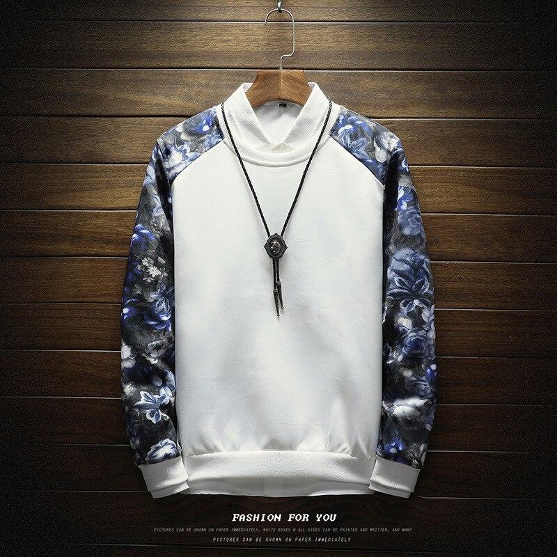 Men Sweatshirt Floral Printed Streetwear Moletom Masculino Sweatshirts Sudadera Hombre Male Pullover Patchwork Sweatshirts Homme
