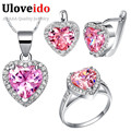 925 Sterling Silver Cheap Fashion Wedding Jewelry Sets for Brides Heart Pink Jewelry 2017 Necklace Ring Earrings Set Ulove T435