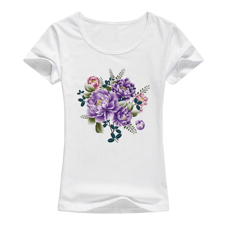 peony flower t shirt women beautiful fashion artwork summer style shirt Good quality brand tops Female A84