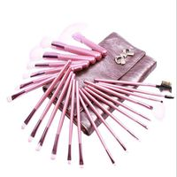 22 Pcs Professional Natural Hair Soft Cosmetic Makeup Brushes Set Kit With Makeup Pouch Bag Woman