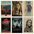 Westworld retro Cartel Retro de Papel Kraft Café Bar Pintura Decoración Del Hogar Etiqueta de La Pared
