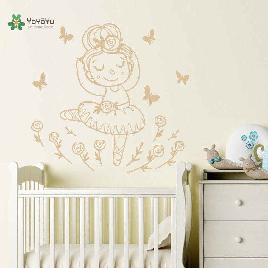 YOYOYU Vinyl Wall Decal Cute Cartoon Little Ballerina Girl Kids Room Art Home Papel De Parede Para Quarto Stickers FD430