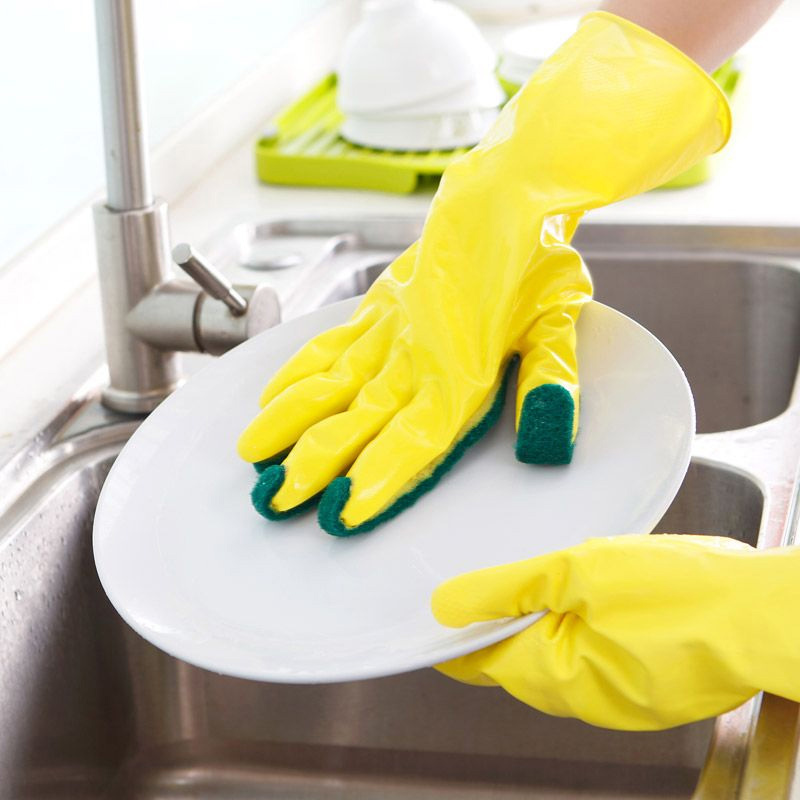 1Pair Home Garden Kitchen Dish Washing Cleaning Glove Sponge Fingers Rubber Household Cleaning Gloves for Dishwashing