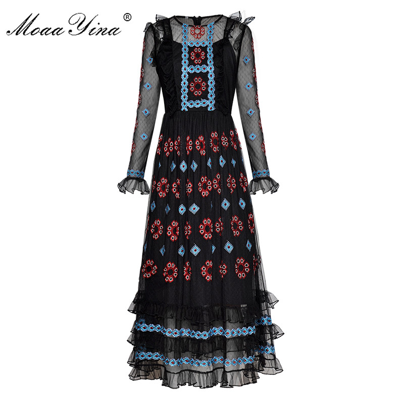 MoaaYina Vintage Fashion Designer Runway Dress Spring Summer Women s Long sleeve Mesh Embroidery Ruffles Black