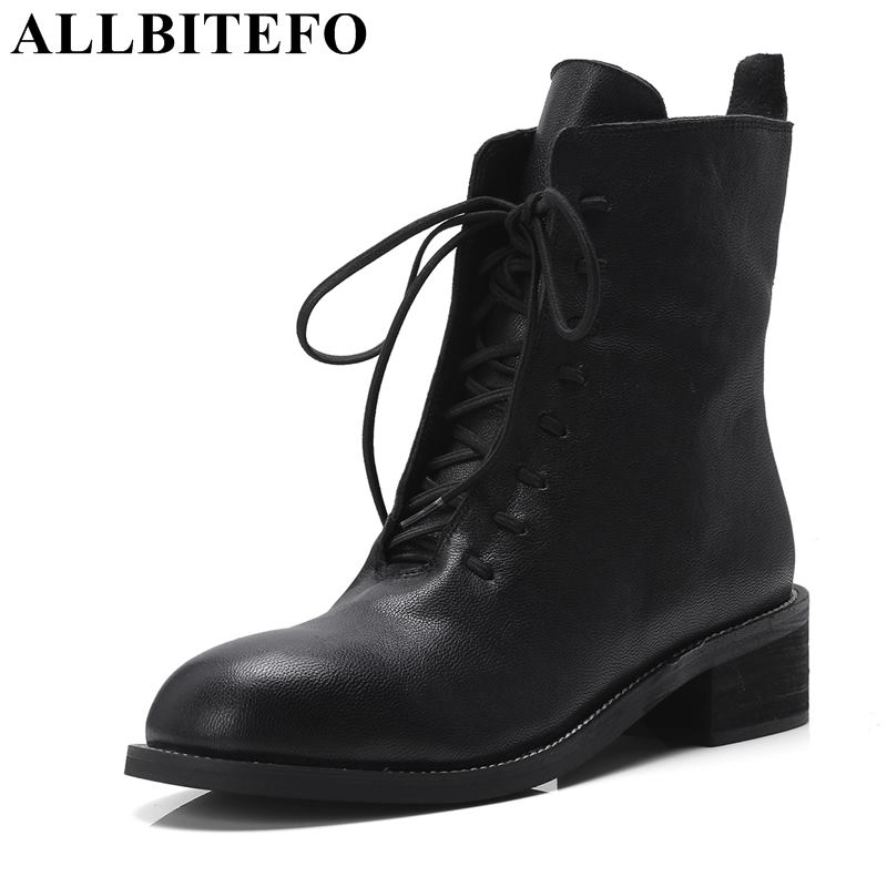 ALLBITEFO new fashion brand genuine leather high heels ankle boots women new winter martin boots thick heel women boots стоимость