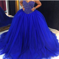 Classic 2019 Quinceanera Dresses Beading Sweetheart Sleevelesss Red Royal Blue Custom Made Long Cheap Sweet Sixteen Dress