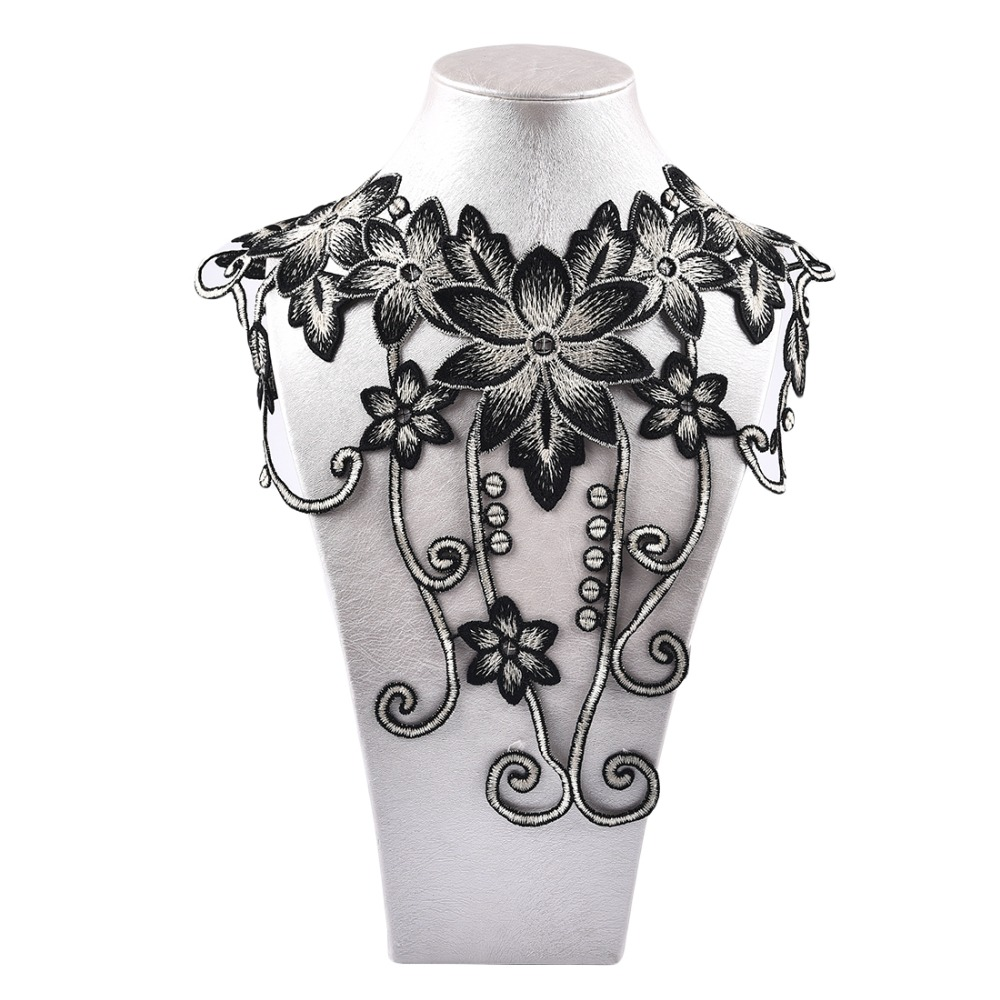 1pc Embroidery Flower Lace Collar DIY Hollow Elegant Detachable Lace Patch Neckwear Fake Collar Ladies Clothing Decoration