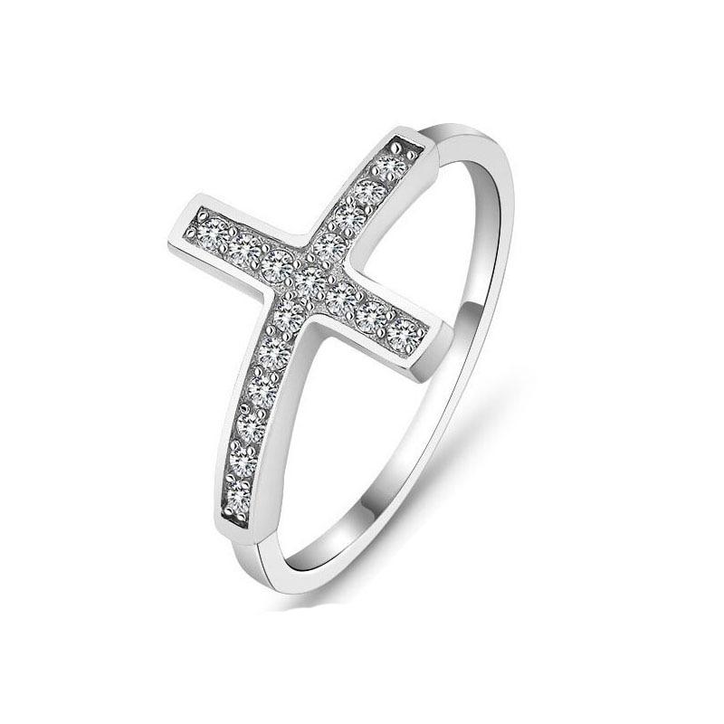 Cross vintage gyűrűk nőknek Divat ékszerek ezüstözött gyűrű - Divatékszer