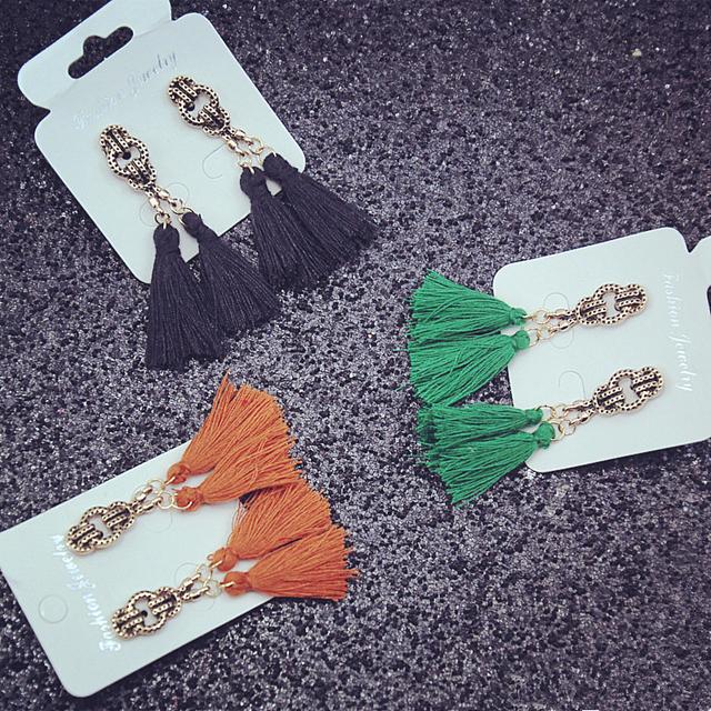 Vintage Green Tassel Earrings