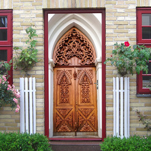 Islamic style Creative 3d door sticker Personality wooden family PVC waterproof self-adhesive decorative wallpaper