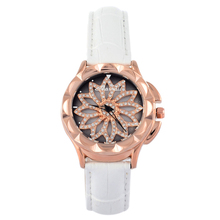 GOOD LUCK Rotation Floral Watch Women Dress Watches Mashali Crystals Leather Wristwatch Girls Students Relojes Montre femme W054