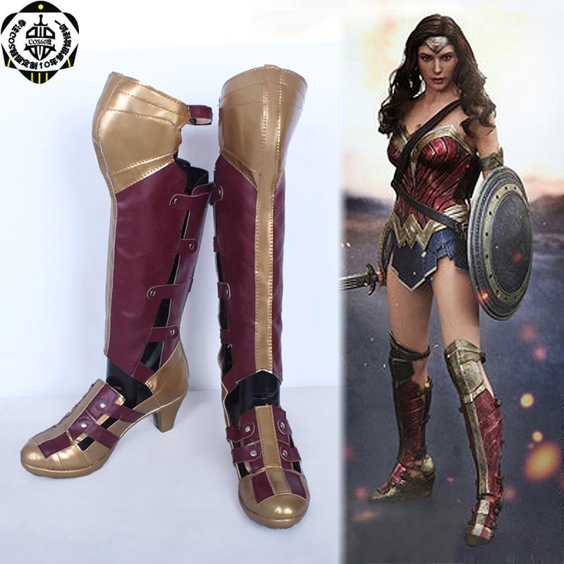 Superhero Batman vs Superman Wonder Woman Diana Prince High Boots Cosplay Leather Shoes Halloween Costumes