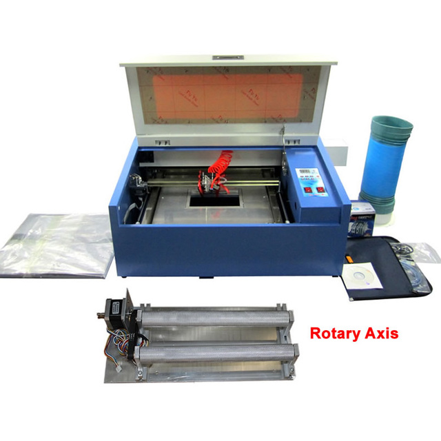 Newest LY 3040 CO2 Laser Engraving cutting machine Rotary Axis 50W  Tube 220V/110V Super quality with all functions