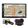 7 polegada 1080 p Navegação GPS 2-DIN Car Áudio Estéreo Jogador MP5 Tela de Toque Apoio Retrovisor Controle Remoto do Volante câmera