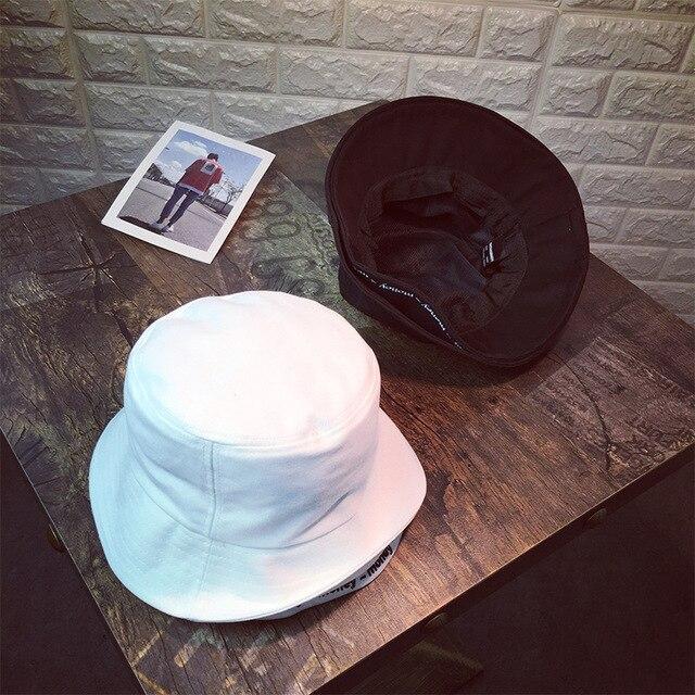 66def4c9f63 2018 Unisex Bucket Hat Fishing Casual Cap Summer Men women Travel Sun  letter embroidery money Double hat solid Bucket Hat