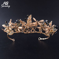 Snuoy Vintage Golden Black Tiaras Crowns Dragonflies Hairbands Queen Crowns for Women Bridal Hair Jewelry Wedding Accessories
