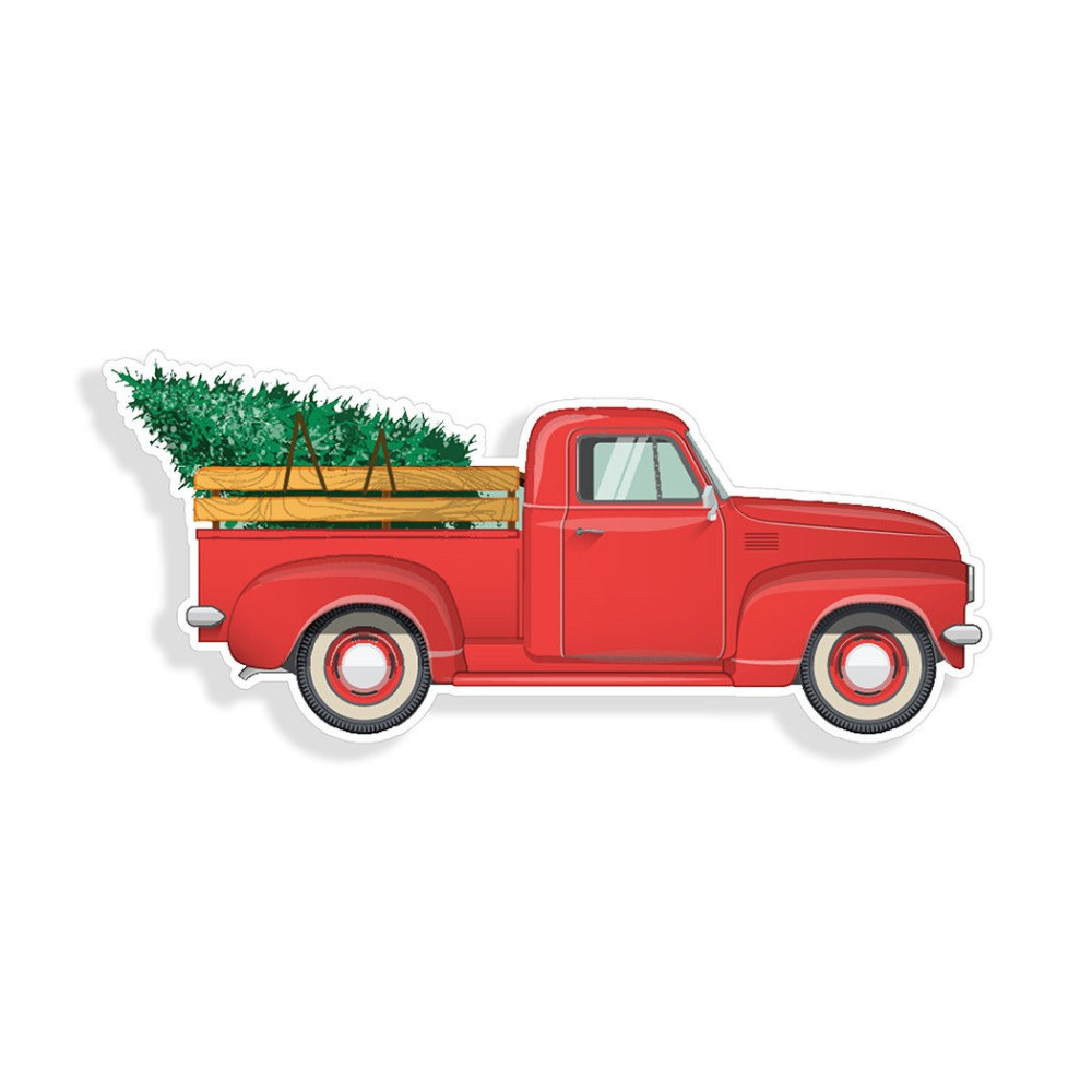 Old Truck With Christmas Tree.Red Santa Old Truck Christmas Tree Sticker Car Cup Wall Window Bumper Door Decal