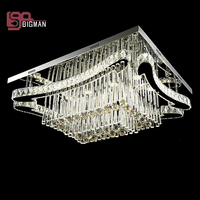 New Rectangle LED Crystal Chandeliers Modern Lighting Stainless Steel Crystal Lamp Home Light