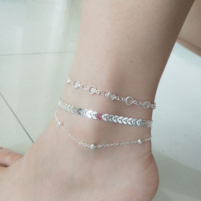 3 pcs/Set Vintage Statement Crystal Sequins Anklet Set Beach Foot jewelry Boho Style Party Summer Jewelry For Women Wholesale 5