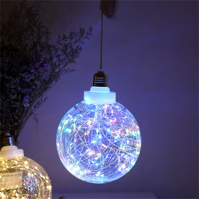 Globe LED Lamp Battery Powered Chandelier Clear Plastic Ball Copper Wire String Light Hanging Night Decorative Light Gift Indoor