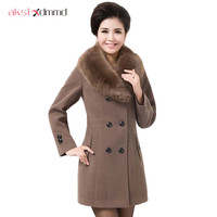 Winter Coat Women Thick Women S Fashion Outerwear Double Breasted Fur Collar Plus Size Wool Coats