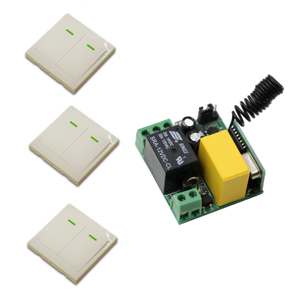 315Mhz 433Mhz  AC220V Receiver Board +3*Wall Transmitter Wireless Power Switch Radio Controlled Switch Relay New 315 433mhz 12v 2ch 6 transmitter