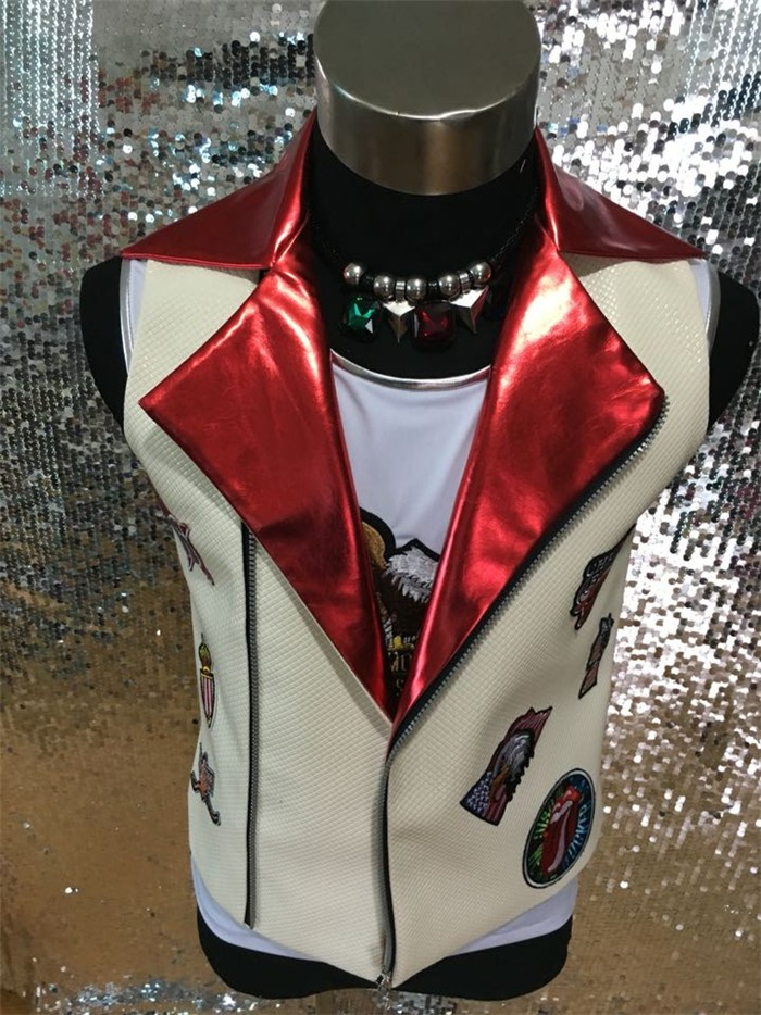 New Men White And Red Leather Slim Casual Vest Jacket Man Rivets Dj Singer Stage Wear Performance Outerwear Male Costumes Coat hot new men and women performance clothing dj singer ds big red faux fur long coat singer stage costumes s 4xl