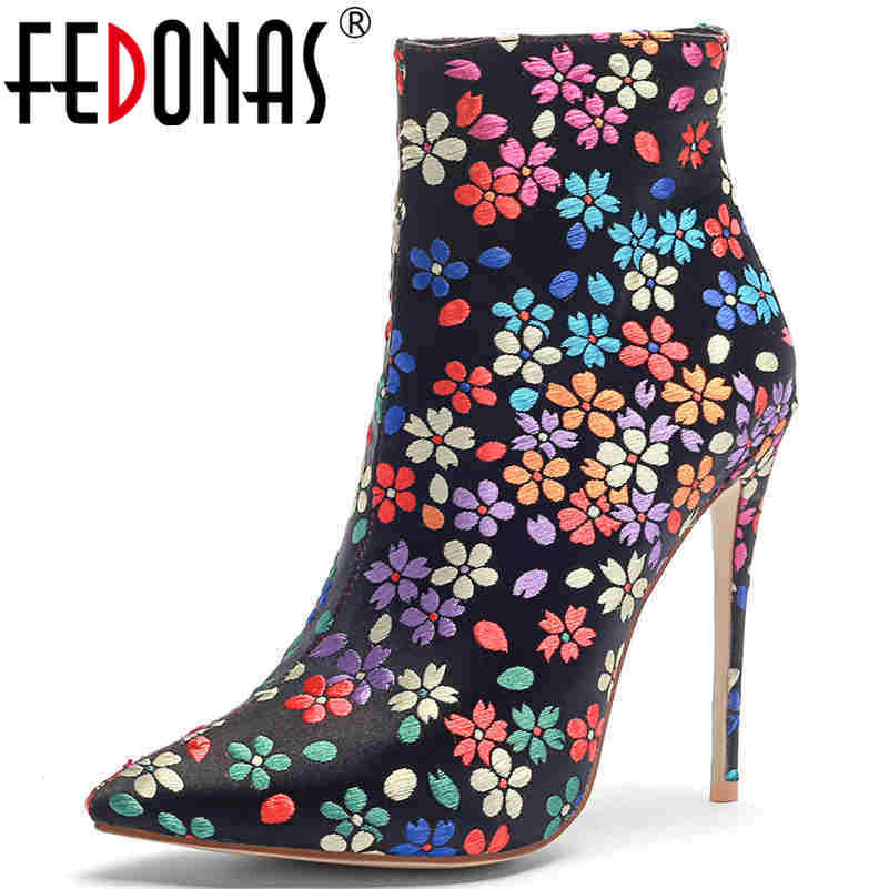 FEDONAS Embroider Women Elegant Silk Thin High Heels Party Wedding Shoes Woman Sexy Pointed Toe Zipper Basic Ankle Boots FEDONAS Embroider Women Elegant Silk Thin High Heels Party Wedding Shoes Woman Sexy Pointed Toe Zipper Basic Ankle Boots