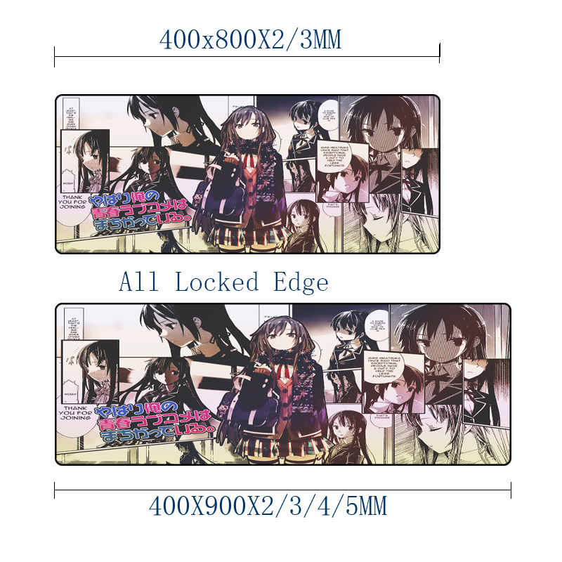 Mairuige Anime Manga Printing Mousepad My Teen Romantic Comedy SNAFU Curton Mice Mat Large Size for Gaming Player Anime Fans