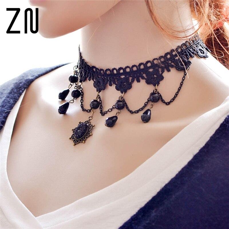 2017 Collares Sexy Gothic Colliers Kristall Schwarz Spitze Neck Halsband Halskette Vintage Viktorianischen Frauen Chocker Steampunk Schmuck Den Speichel Auffrischen Und Bereichern