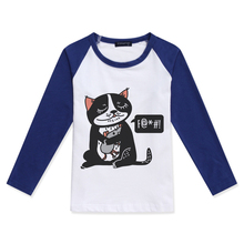 New Sale T-Shirt For Kids Boy Long Sleeve Tops Children Clothing Girl T Shirt Cat Mouse Printed Fashion Cotton O-Neck Child Tees