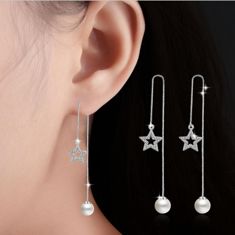 Everoyal Lady Fashion Zircon Star Earrings Jewelry For Women Charm Silver 925 Sterling Girls Accessories