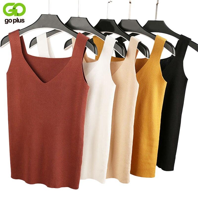 GOPLUS 2018 Sexy Top de Otoño de las mujeres Tank top blusa sin mangas Top de cuello en V Mujer camiseta chaleco Casual Camis streetwear