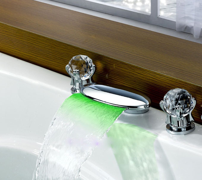 Chrome Waterfall LED light  Bathroom Sink  Bathtub Faucet LED light  Dual Crystal knobs