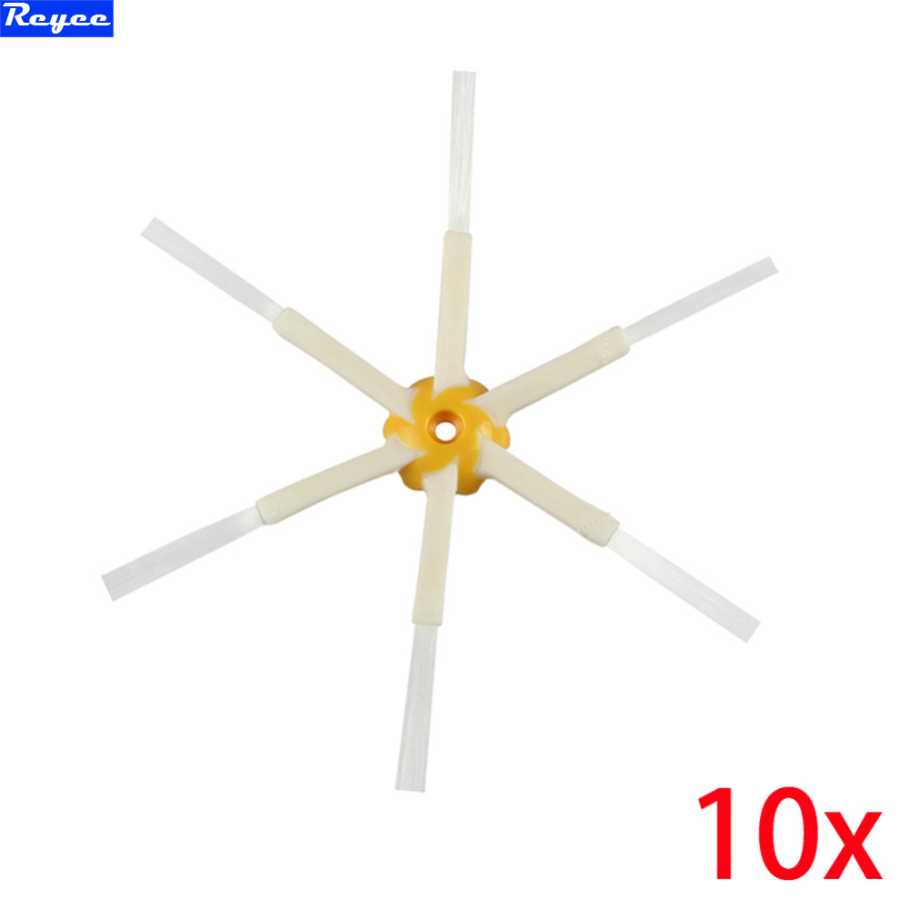 Free Post 10 Piece Replacement 6-armed Side Brushes For iRobot Roomba 500 560 600 610 700 780 All Series 6 Arms Side Brush bristle brush flexible beater brush fit for irobot roomba 500 600 700 series 550 650 660 760 770 780 790 vacuum cleaner parts