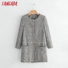Tangada 2018 femmes tweed manteau long vintage style coréen à manches  longues manteau d hiver dames poches outwear manteau occas. 9f73f784751c