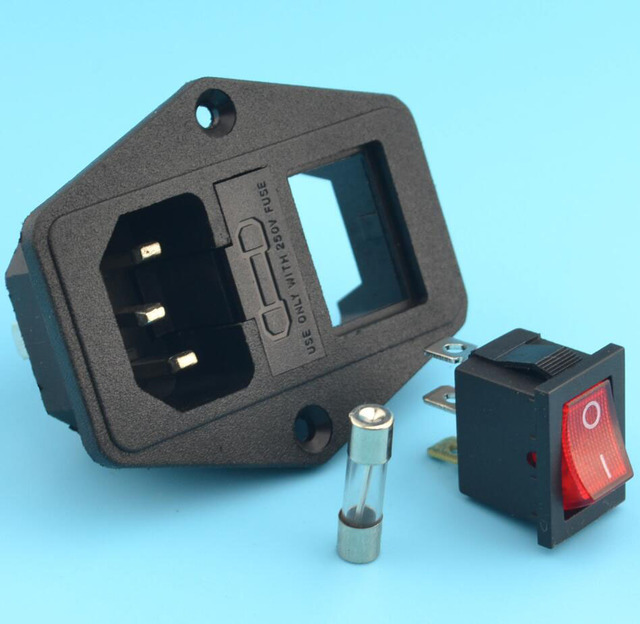 Avec 10A fusible! Prise d'alimentation avec Interrupteur À Bascule ac socket 3 Terminal Prise D'alimentation avec Porte-Fusible Connecteur