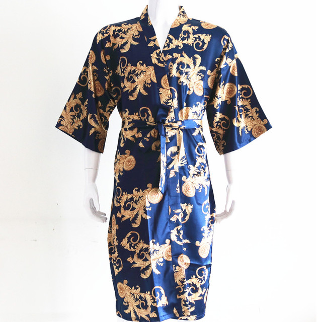 Новое поступление мужские район шелковый халат платье Мужчины элегантный печати Ночные рубашки для девочек халат-кимоно цветок рубашки домашняя одежда один размер