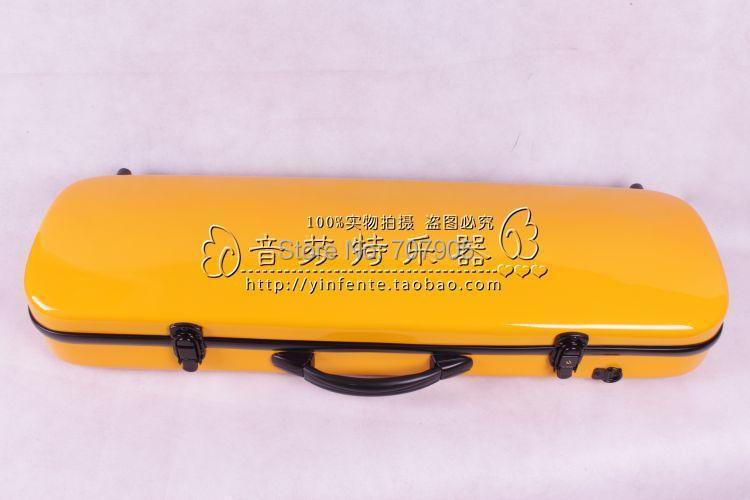 ФОТО yellow  color    4/4 Violin case Glass Fiber Soft Imitate Leather Pink White Black #001