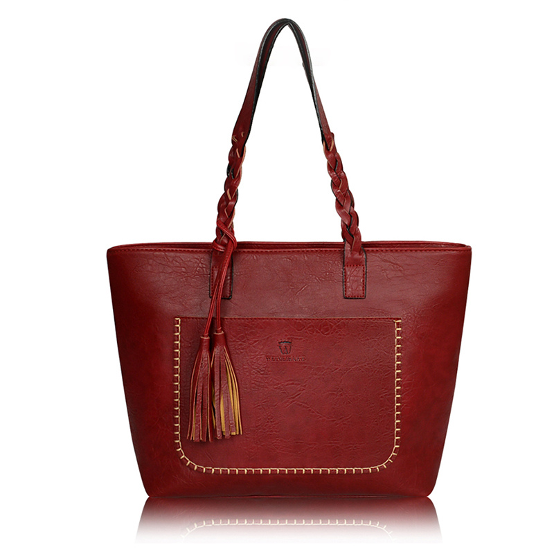 Tassel Luxury Designers PU Leather Handbags Solid Women Shoulder Bags Women Messenger Bags Shopping Bag Bolsos Mujer Sac Zy8808